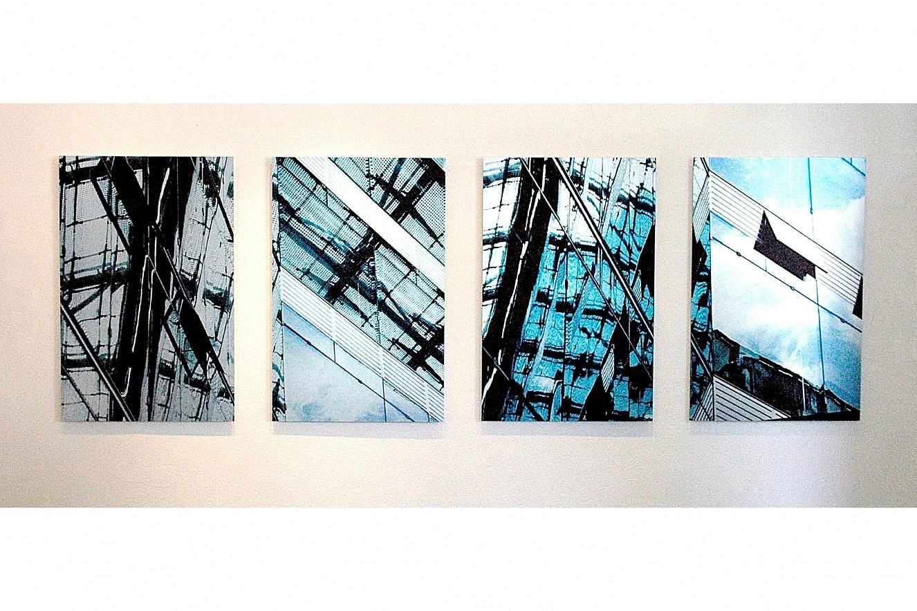 Residence-Insure, vierteilig  each Fine Art Print metallic on Aludibond  130x90 cm, 1999/2019