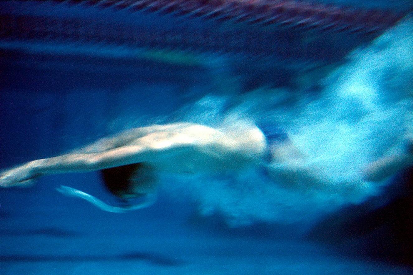 Swimmer- Jump Cibachrome under glass 80x200 cm, 2002/2019