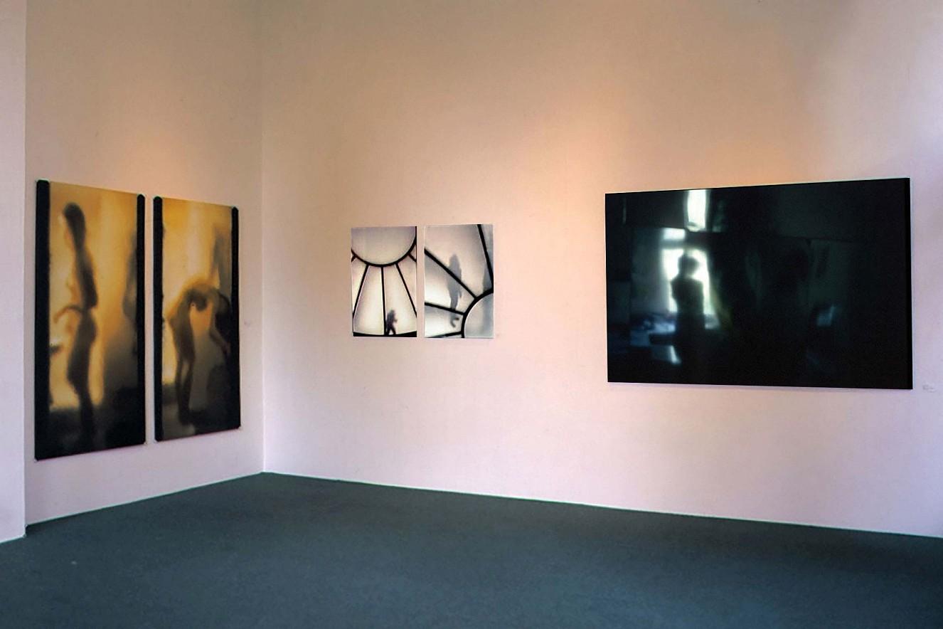 Spiegelstadium I, II - Über die Dächer und Endroit -  Fotos auf Leinwand, Farbfotografie unter Glas, Galerie Condé, Goethe Institut, Paris, 1996