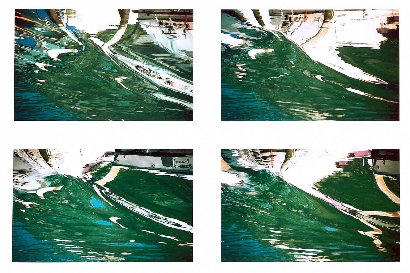 Grado Spiegelungen  Iris Glicée Druck on Torchon, total 100x130cm,   under glass Glas in wood frame, 2003/2019  4 pieces in Passepartout, each 30x45 cm