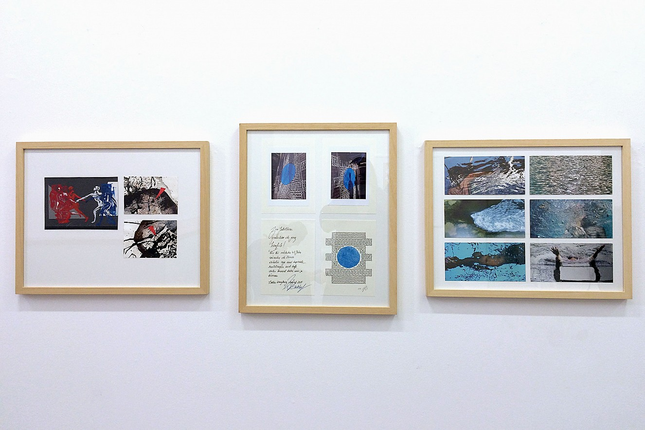 Postcard Edition (6er)Set  right picture - Dance-Blue, Monasterio Green  Pool, Zellfliessen, Stream Sprudel, Wake  each 11x22 cm, Offset Metallic one side printed