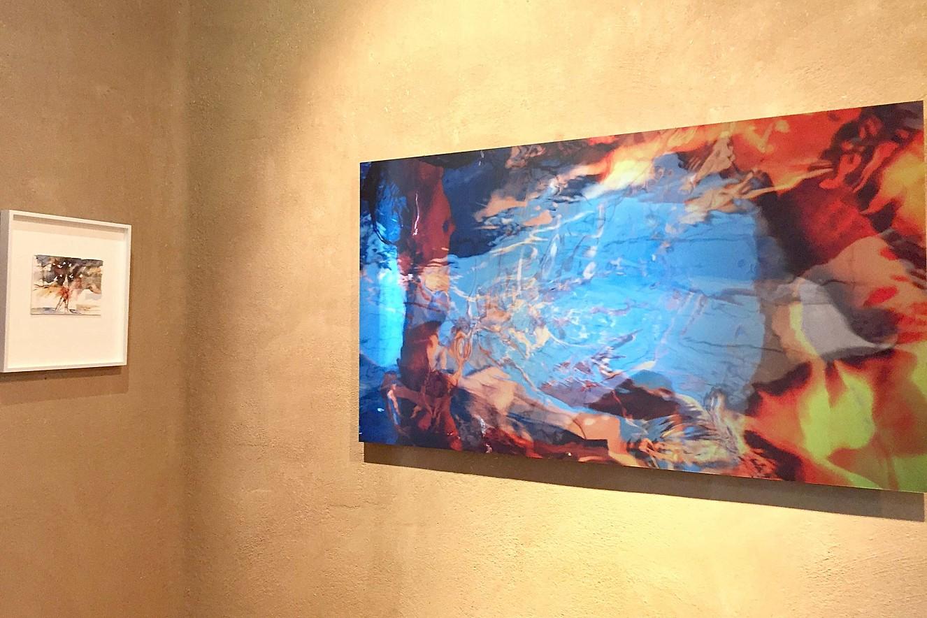 Frau am Strand und Macha Strings  10x15 cm und 60x110 cm, Aquarell und  Fine Art Print Metallic auf Aludibond