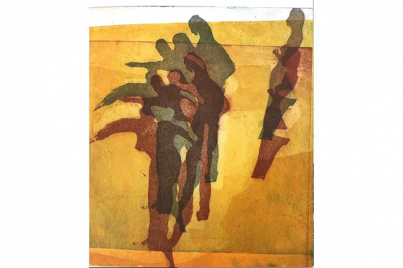 Badende  24x26 cm, Aquatinta Radierung auf Torchon  gerahmt, Ausstellung Galerie Gondwana, Berlin