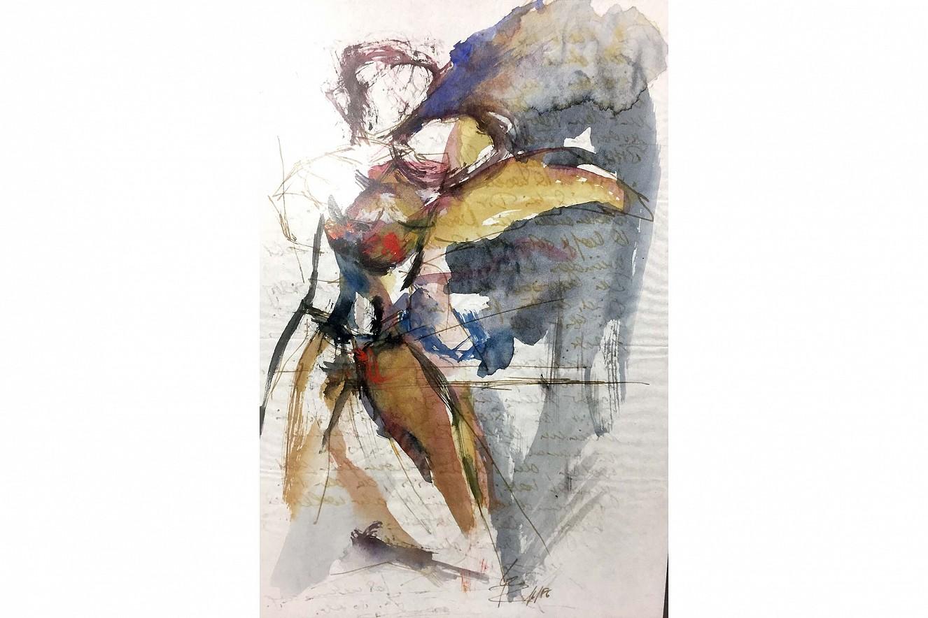 Ellipse  21x29,7 cm, gerahmt, Aquarell auf Pergament  Original im Rahmen, rückseitig Brief