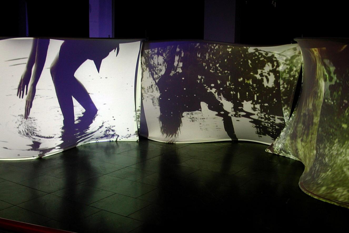 Whirl&Wake I  Videoprojektion auf Leinwände  200x250 cm, 2003, Vattenfall Foyer