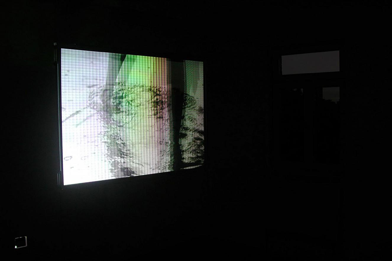 Whirl&Wake   Videoprojektion auf Holoprofolie  100x130 cm, Holzhausenschlösschen, Ffm