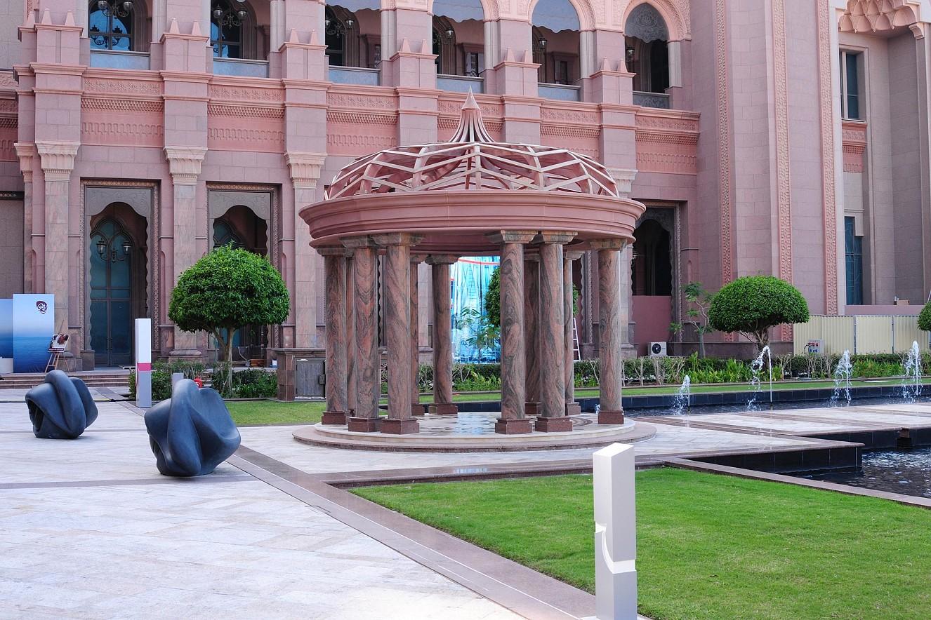 Blend, Outdoor Exhibition View  5x3m, three pieces, Fine Art print metallic  Beyond Section, Art Abu Dhabi, Emirates Palace