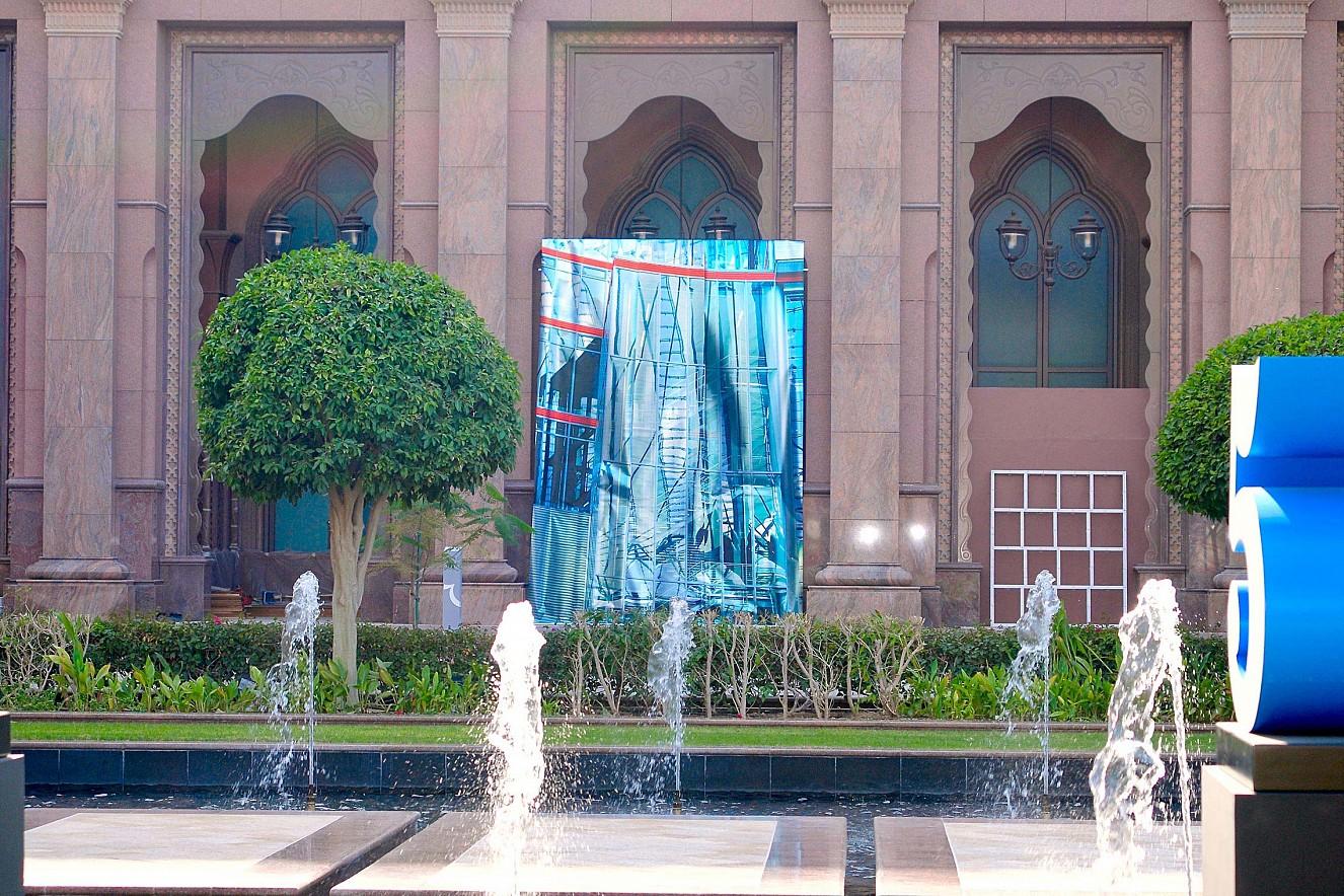 Blend, Outdoor Exhibition View  5x3m, three pieces, Fine Art print metallic  Beyond Section, Art Abu Dhabi
