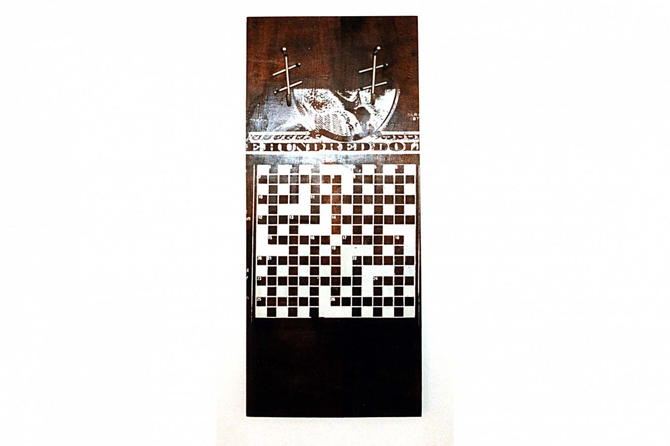 Capital  Silkscreen on wooden board  ca. 90x50cm, art\'otel Luise, Berlin