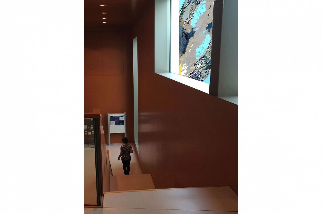 Map of the World - Weltspiegel  Einblick Innenhof Nord, ca. 30 qm  Foto auf Floatglasfassade, IKMZ Potsdam/Golm