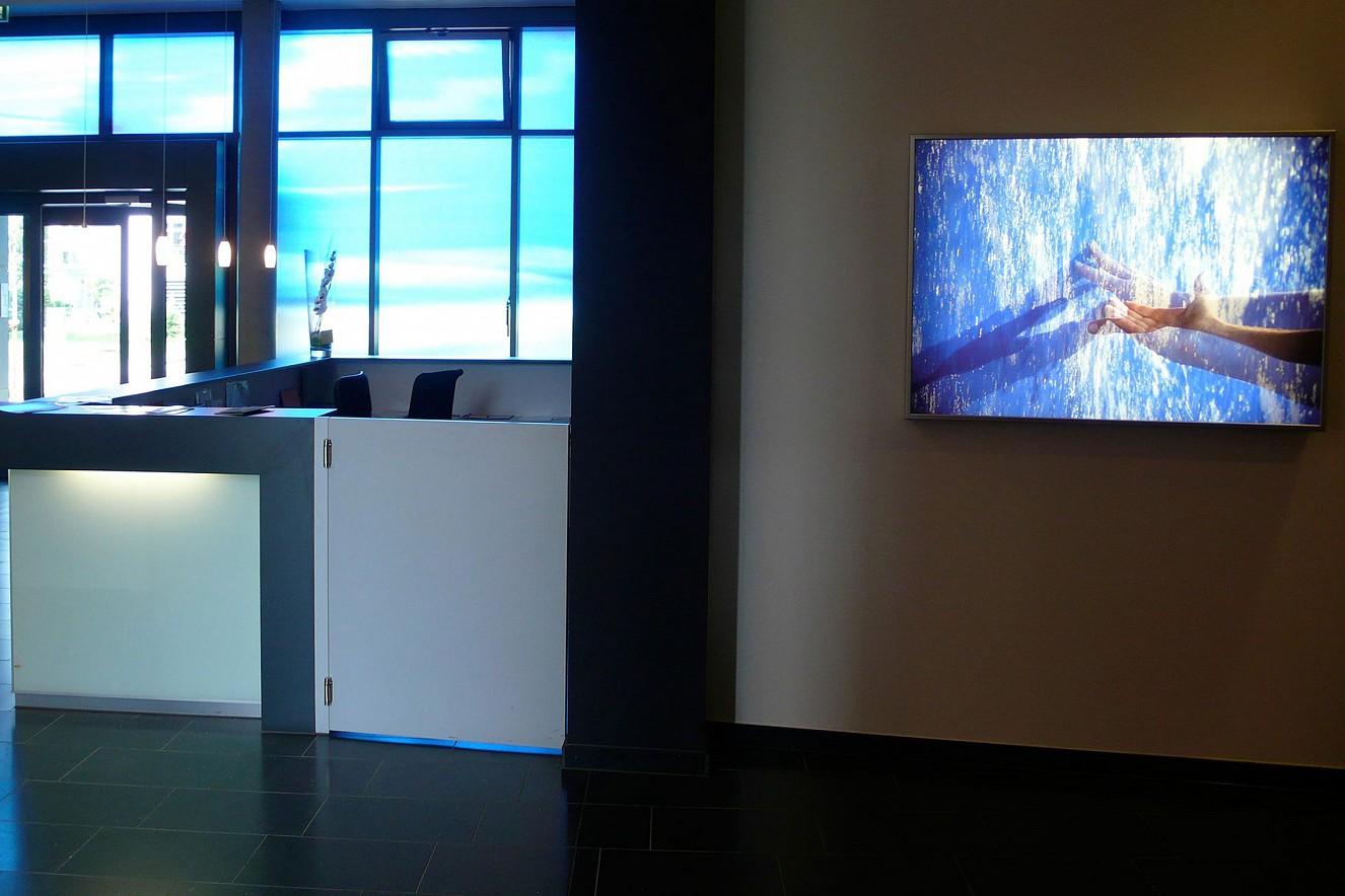 Greif Bar- Hands  Endura translucent in Lightbox, photo on glass wall  70x100 cm, Carl Oelemann Institut