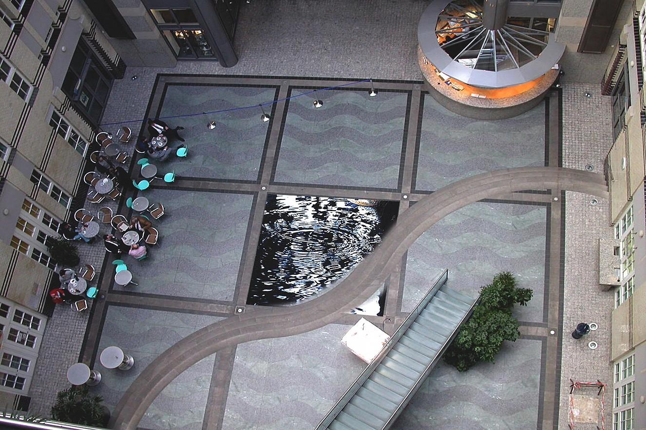 Water Falls  Staircase, Photos on floor,  ca. 25 qm, Berliner Wasserbetriebe