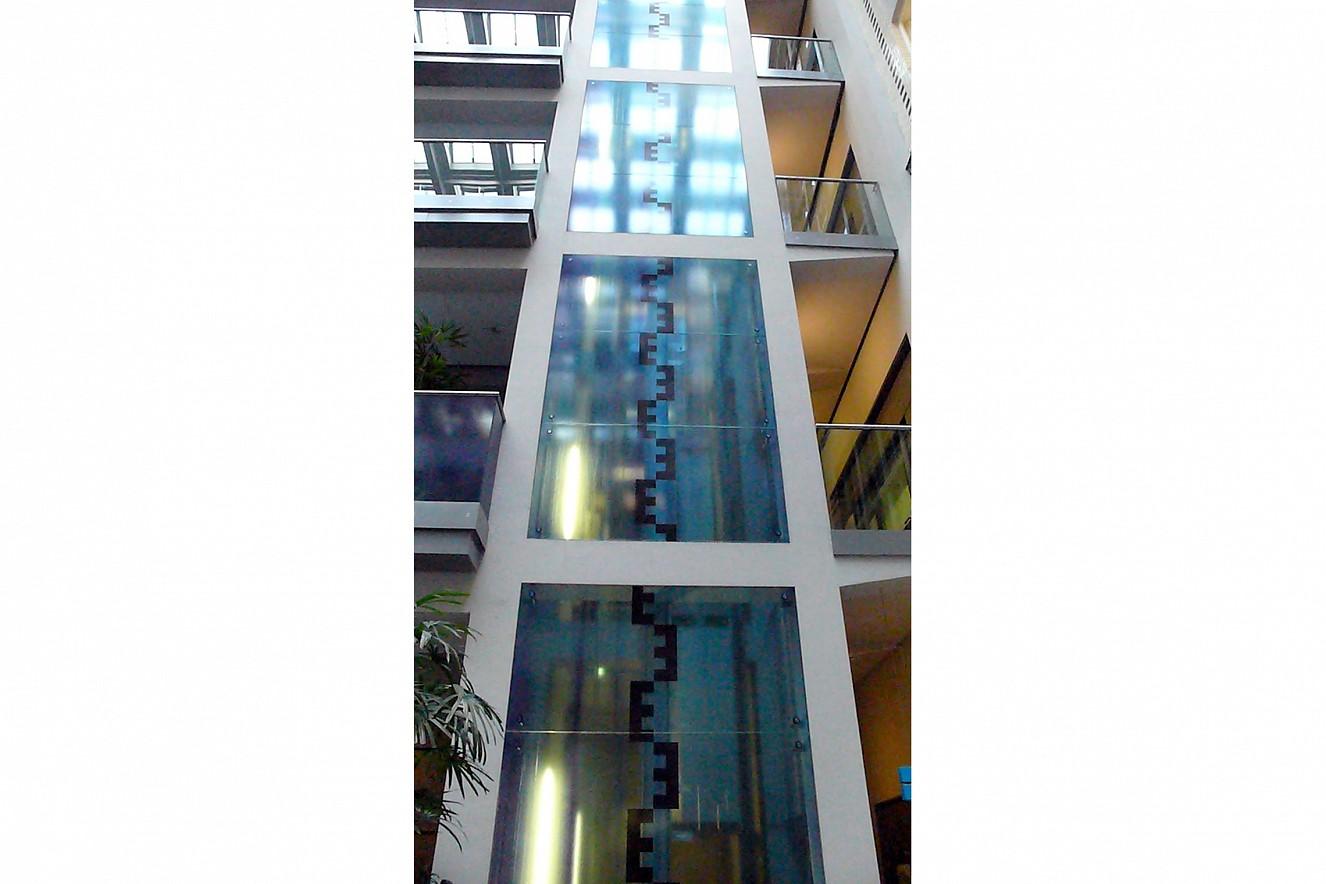 Water Falls   photos on elevator windows   ca. 25 qm, Berliner Wasserbetriebe