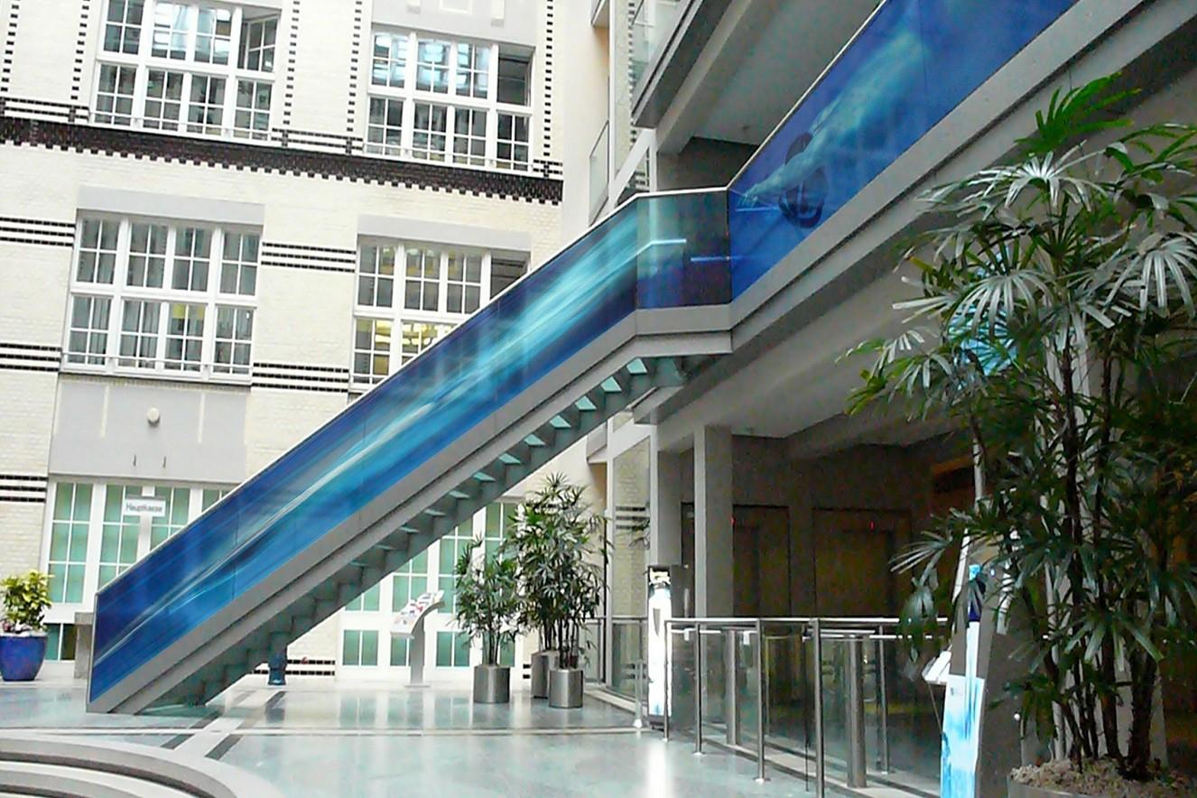 Water Falls  - Big Fin Swimmer  Photos on glass, ca. 25 qm, Staircase windows  Berliner Wasserbetriebe
