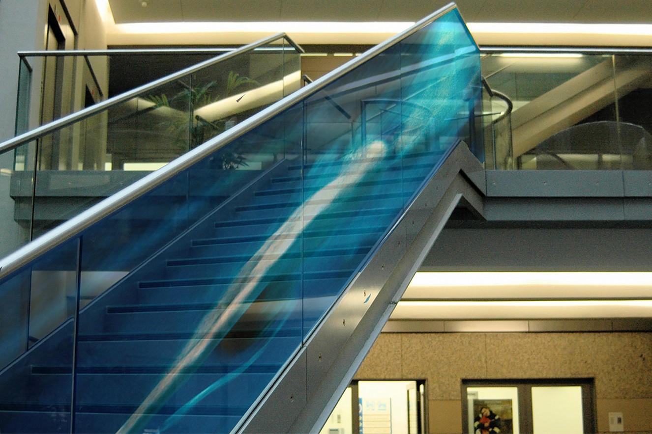 Water Falls  - Big Fin Swimmer  Photos on glass, ca. 25 qm,   Staircase windows, Berliner Wasserbetriebe