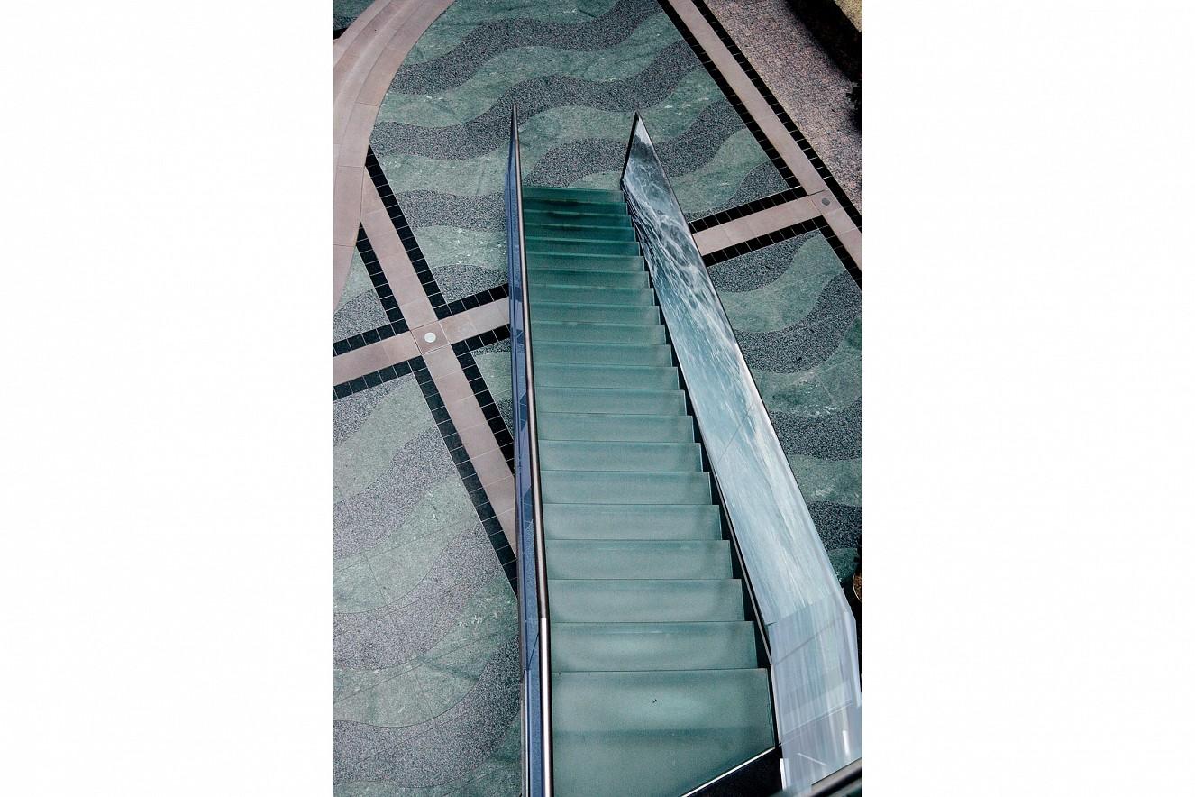 Water Falls    Photos on glass, ca. 25 qm, staircase windows  Berliner Wasserbetriebe