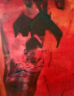 red_nude, Tempera on photo canvas, 100 x90 cm ©C.Rosteck